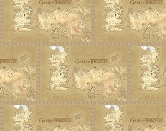 Game of Thrones Cotton Quilt Fabric by The Yard, Map of Westeros In Stock