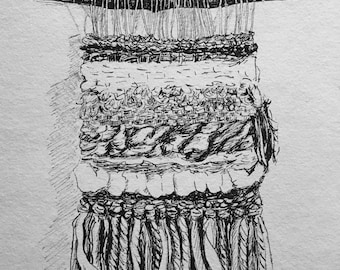 Wall hanging, ink drawing, weaving, gift for her, Mother's Day