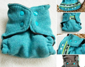Turquoise wool diaper cover with snaps, 0-3 months