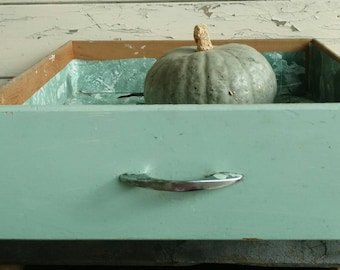 Mid Century Desk Drawer in Sage Green / Chrome Drawer Pull - Vintage Gray-Green Wooden Drawer, Home Storage + Wedding Decor, Chippy Paint