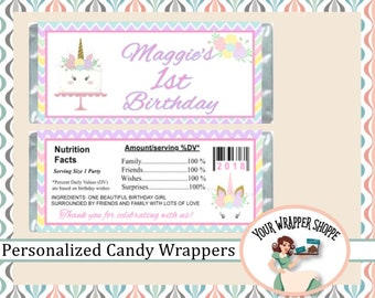 UNICORN BIRTHDAY PARTY Candy Bar Wrappers with Foil Sheets Favors Custom Personalized