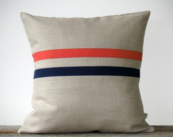 Coral and Navy Striped Linen Pillow Cover 16x16 - Colorful Home Decor by JillianReneDecor, Coral Stripe Pillow