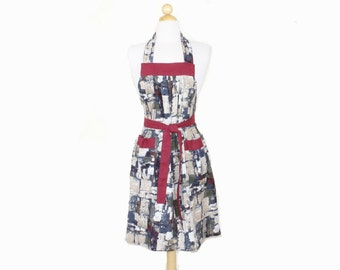 Old Brick Wall Print Cotton Linen Full Apron