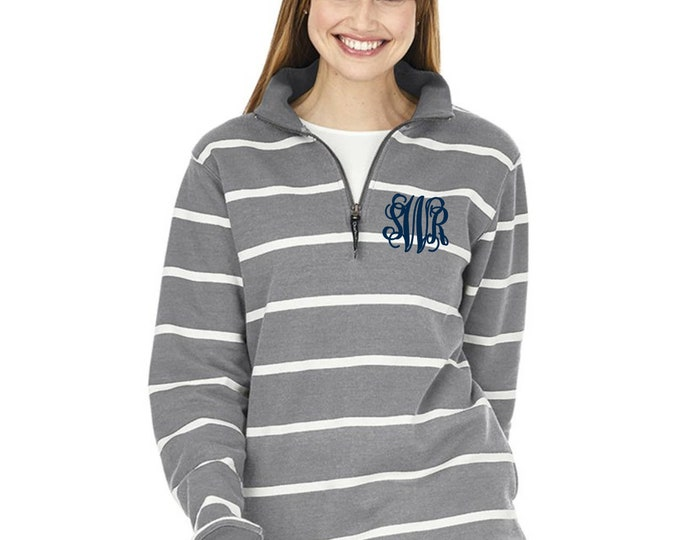 Monogram Sweatshirt - Monogrammed Quarter Zip Sweater - Monogrammed Sweatshirt  - Bridesmaid Gifts - Charles River Crosswind Sweatshirt