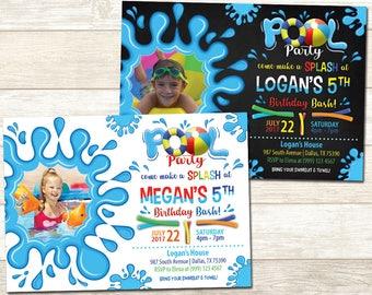 Pool Party Photo Birthday Invitation - Swimming Pool Photo Birthday Party - Chalkboard Pool Party Birthday invitation - Pool Party Birthday