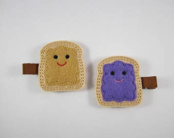 PB & J peanut butter jelly felt embroidered hair clip set