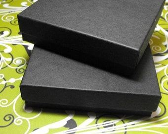 TAX SEASON Stock up 100 Pack 3.5 X 3.5 X 1 Inch Matte Black Size Cotton Filled Jewelry Presentation Gift Boxes