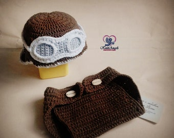 Set for the newborn Hat and Nappy  Cap Aviator  Hat pilot  Set for the boy  Brown set  Clothing for photo  6 months Photography Prop
