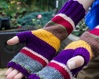 Fingerless Gloves, Hand Knitted