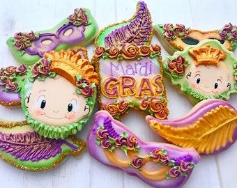 12  Assorted Mardi Gras Cookies