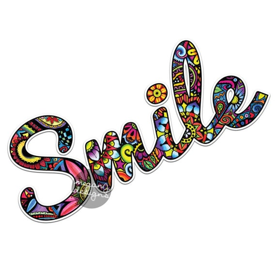 Smile sticker colorful design bumper sticker laptop decal