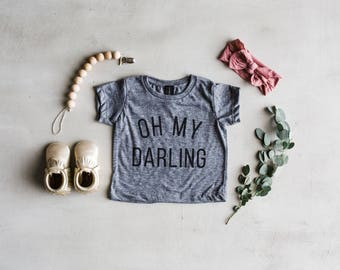 Oh My Darling Baby T-Shirt • Unique Modern Typographic Style Baby Tee • Super Soft Oh My Darling Infant Shirt • Made in USA • FREE SHIPPING