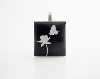 White Butterfly and flower necklace - Black background and White Butterfly and flower, Scrabble Tile Pendant, Sterling Silver 925 bail&chain