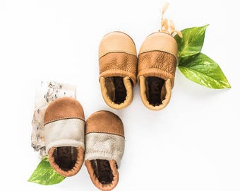 Two-Tone LOAFERS Soft Soled Leather Shoes Baby and Toddler //Free Shipping in USA// Starry Knight Design
