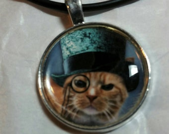 Steampunk Necklace Pendant Jewelry Cat Lover Jewelry Pet Lover Jewelry Cat in Teal Blue Top Hat Gift Idea for Her