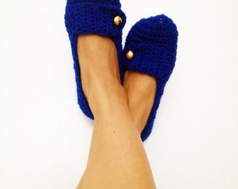 Navy blue With Gold Color Button Crochet Womens Slippers, Ballet Flats, House Shoes Olympian Blue