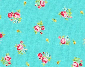 Flower Sugar 2013 by Lecien  Pink Roses on blue  30750-70 Cotton Fabric