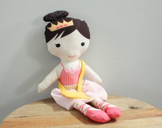 Ballerina Doll tutu bag rag doll stuffed doll young girl birthday gift brunette pink stripe leotard pink tutu skirt cloth doll fabric doll