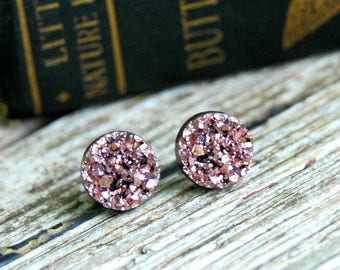 Pink Champagne Druzy Earrings . Valentines Day Gift Galentines Day Gift . Best Friend Birthday Gift . Surgical Steel Earrings . Druzy Studs