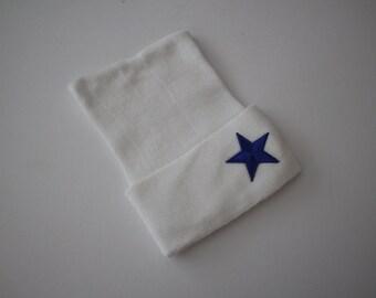 A Star is Born White Cotton Newborn Beanie Hospital Hat, Baby Girl or Boy, Baby Keepsake, Blue or Silver Star