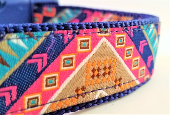 The Hippie Hound, Dog Collar,  Boho, Bohemian, Large Dog Collar, Side Release Buckle, Eclectic, Adjustable, Geometric, Bunting