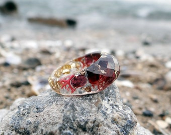 Garnet ring gold ring marsala wedding ring resin ring faceted ring terrarium gift for wife garnet jewelry gemstone ring burgundy birthstone