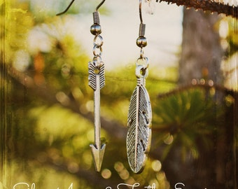 Feather Earrings, Feather Jewelry, Arrow Earrings, Arrow Jewlery, Archery Jewelry - Silver Arrow & Feather Earrings