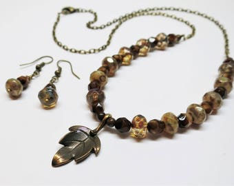 Autumn Leaf Beaded Necklace and Earring Set, Czech Fire Polished Lustre Picasso Glass Beads, Beaded Jewelry, Mother's Day Gift Idea