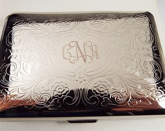 Custom Engraved Personalized Business Card Case or Kings Cigarette Case Double Sided Scroll Design  -Hand Engraved
