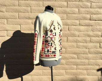 Vintage 60s Kimlon Nordic Cardigan Apres Ski Sweater Sz M