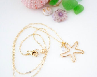 Starfish Necklace, Handmade, Dainty, Layering, Sterling Silver, 14k Gold Filled, Simply Me Jewelry Starfish Necklace, SMJNK403