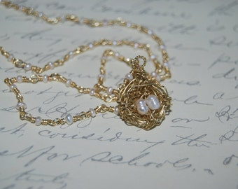 Wire Wrapped Plated Gold  Bird Nest Necklace. Gift for Mom. Mommy Jewelry.