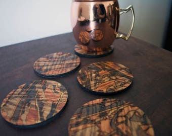 Wood Grain Coasters Laser Cut Stain Painting Handmade Gift for Dad Pyrography Wood Burning Nature Tree Forest Masculine Modern Unique