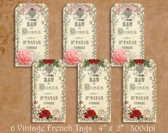 Vintage French Rose Gift Tags, French Ephemera, 6 Printable Gift Tags, Vintage Floral Tags, Digital Gift Tags, Valentine Gift Tags,Rose Tags