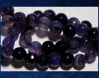 """Agate, Purple - 15"""" strand of 6mm faceted round ball. Approx 62 gemstone beads. #AGAT-459"""