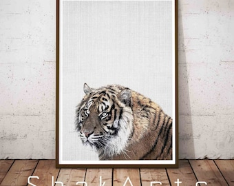 Tiger Printable Art Animal Photo, Photography Print, Woodland Animals Art, Wall Decor, Bedroom Wall Decor, Safari Animals, Downloadable
