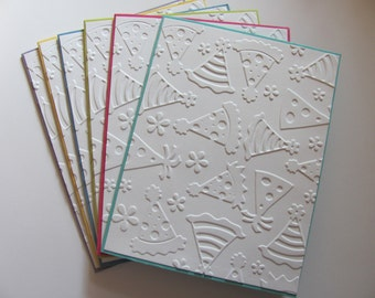 Birthday Cards, Set of 6, Party Hat Cards, Embossed Birthday Card Set, Birthday Card , Party Note Card Set, Birthday Greeting Cards