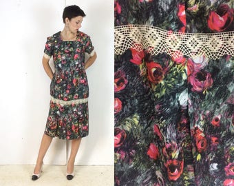 Impressionist print Handmade Floral Summer Dress Late 1950s / early 60s