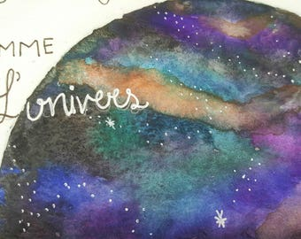 Card-Valentine's day, love, Galaxy, planet watercolor