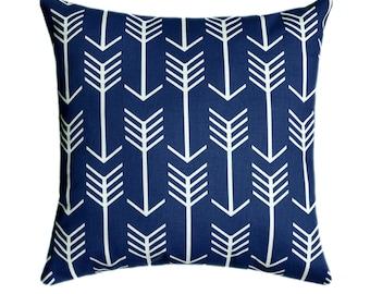 Arrow STUFFED Throw Pillow,  Arrow Navy Decorative Pillow, Navy and White Nursery Accent Pillow, Navy Pillow, Nursery Pillow - Free Ship