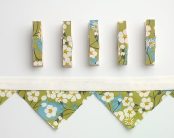 Floral Mini Bunting and Clothespins Green and Cream Cherry Blossom Decor Liberty of London Tana Lawn Fabric Mini Clothes Pin Pegs