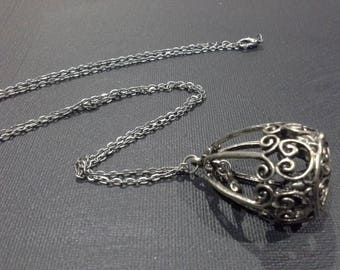 Vintage Silver Tone Antique Finish Bird in Cage Pendant Necklace