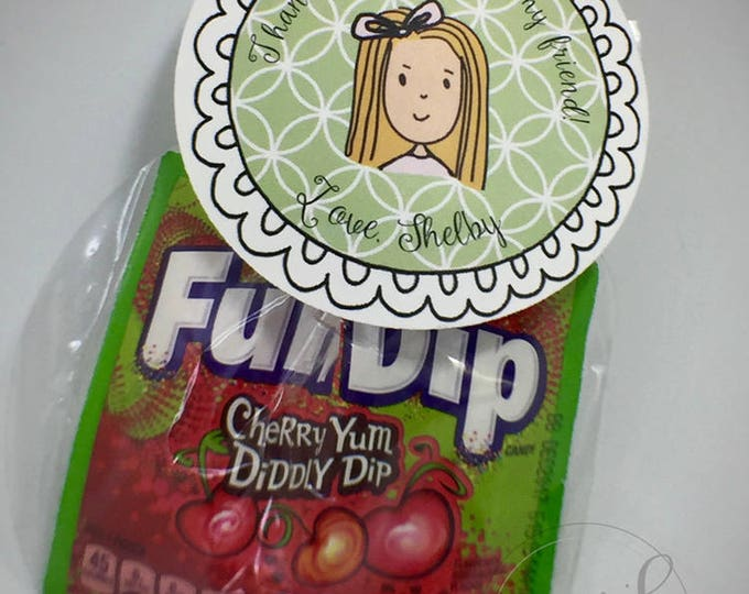 """Personalized Party Favor 3 1/2"""" Circle Tags With Treat Bags - Custom Made - Set of 25"""