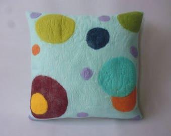 "Felt cushion ""Polka dots"" merino wool Handcraft, felt pillow handmade merino wool"