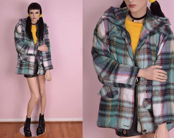 90s Plaid Flannel Oversized Hooded Jacket/ Small/ 1990s