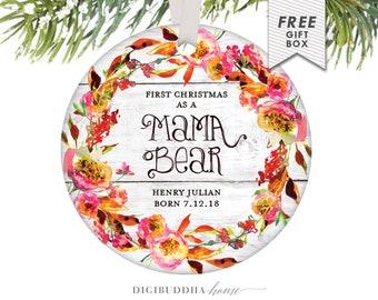 Mama Bear Christmas Gift, Personalized Mama Bear Gift Personalized New Mama Bear Christmas Ornament Rustic Mama Bear New Baby Personalized