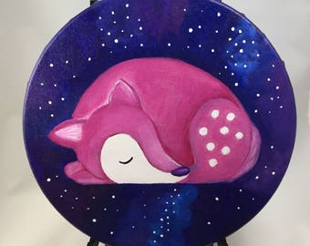 """Original Painting on Round Canvas """"Cosmic Fawn"""""""