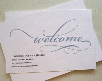 Custom Birth Announcement - Welcome Baby Shower Invitation - Baby Announcement - Boy - Girl - Baby Shower Invite - Calligraphy Invitation