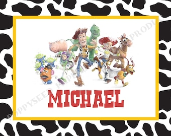 Toy Store laminated placemat- Disney placemat- personalized- Buzz Lightyear placemat
