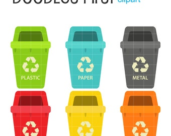 Waste Sorting Digital Clip Art for Scrapbooking Card Making Cupcake Toppers Paper Crafts